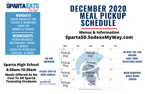 Click here to access the December 2020 Meal Pickup Menu.
